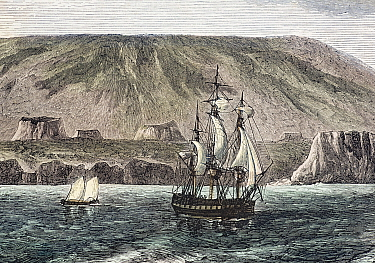 Illustration of 'Albemarle Island' (now Isabela) hand coloured engraving by Huyot and Bepard facing page 520 in 'All Around the World' published in 1872 by William Collins and Son Shows the large cald...  -  Paul D Stewart/ npl