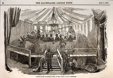 1854 Illustrated London News, January 7th 1854, page 22: dinner in the iguanodon model, at the Crystal Palace, Sydenham' Hosted 31st December 1853 by the Crystal Palace model maker Benjamin Waterhouse...  -  Paul D Stewart/ npl