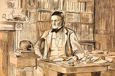 Portrait of Richard Owen (20, July 1804- 18 December 1892); 1883 portrait in his home study for The Graphic magazine, in the year he retired from the BMNH Owen was a comparative anatomist and palaeont...  -  Paul D Stewart/ npl