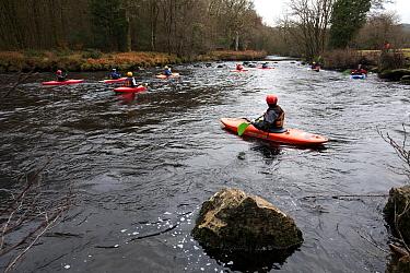 People kayaking on the River Dart Dartmoor National Park, Devon, UK, February 2011  -  Andrew Cooper/ npl