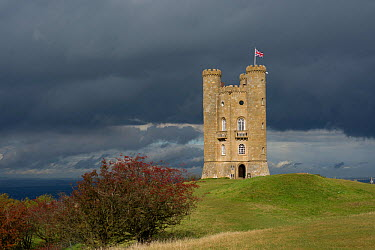 Broadway Tower under stormy clouds, Broadway Hill, Worcestershire, UK, October 2012  -  Gary K. Smith/ npl