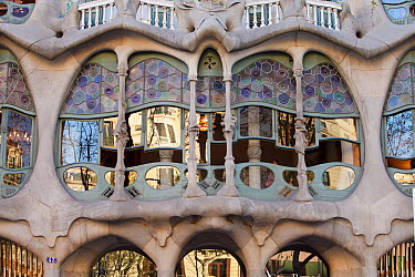 Casa Batllo, a building by architect Antoni Gaudi, Sant Eixample District, Barcelona City, Spain, March 2011  -  Juan Manuel Borrero/ npl