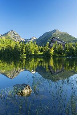Strbske Pleso, a large glacial mountain lake and popular ski resort in the High Tatras, Slovakia June 2012  -  Ross Hoddinott/ npl