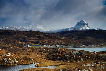 Loch Inver with Mount Canisp and Mount Suilven dusted in snow, Sutherland, Scotland April 2012  -  David Noton/ npl