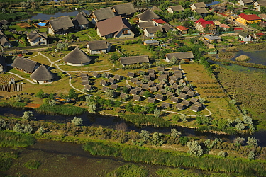 Aerial view over Green Village lodge, Sfinthu Gheorghe, within the Danube delta rewilding area, Romania June 2012  -  WWE/ Widstrand/ npl