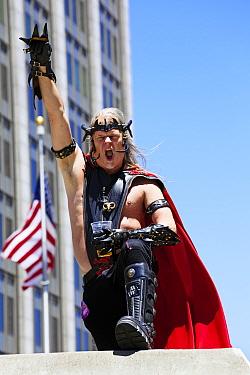 Man in fancy dress celebrating Lesbian Gay Bisexual Transgender Pride Parade, an annual event, San Francisco, California, USA, June 2011  -  Gavin Hellier/ npl