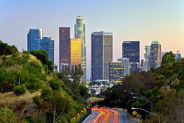 Pasadena Freeway, CA Highway 110, at dusk leading into downtown Los Angeles, California, USA, June 2011  -  Gavin Hellier/ npl