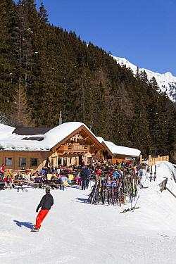 Mountain resort with chalet restaurant at St Anton am Arlberg, Tirol, Austria, 2008  -  Gavin Hellier/ npl
