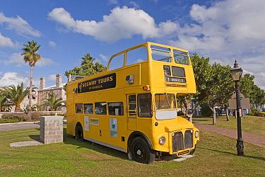 Old tourist yellow double decker bus outside Royal Naval Dockyard, Sandys Parish, Bermuda 2007  -  Gavin Hellier/ npl