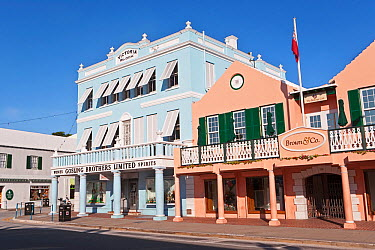 Pastel coloured architecture along Front Street, the main street in Hamilton, Bermuda 2007  -  Gavin Hellier/ npl
