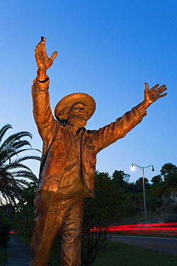 Welcome to Bermuda, statue of Johnny Barnes Jonny is a native Bermudan found waving to passing traffic at the Foot of the Lane roundabout in Hamilton, Bermuda, from roughly 3:45 am to 10 am, every wor...  -  Gavin Hellier/ npl