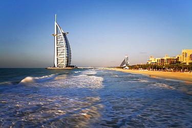 Famous Burj Al Arab Hotel along the coastline, Dubai, United Arab Emirates 2011  -  Gavin Hellier/ npl