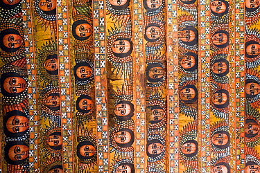 The famous painting on the ceiling of the winged heads of 80 Ethiopian cherubs, Debre Selassie Church, 'Trinity of the Mount of Light', UNESCO World Heritage Site, Gonder, Ethiopia 2005  -  Gavin Hellier/ npl