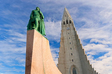 Hallgrimskirkja, the vast modernist church that looms over Reykjavik In front is a statue of Leifur Eriksson, the Viking chief who almost certainly discovered America 500 years before Columbus The 75m...  -  Gavin Hellier/ npl