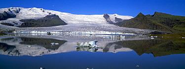 Fjallsarlon lake with icebergs floating in the lake beneath the Fjallsjokull glacier near Jokulsarlon, Vatnajokull, southern Iceland 2006  -  Gavin Hellier/ npl