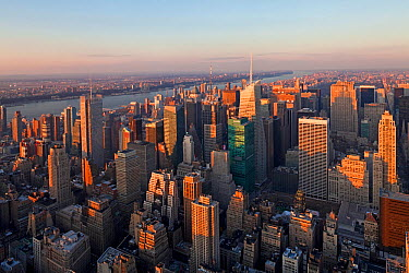 Elevated view of mid-town Manhattan at dusk, New York City, USA 2009  -  Gavin Hellier/ npl