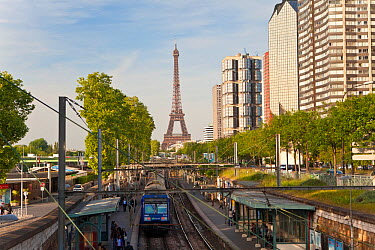 Train Station with High-rise Buildings on the Left Bank and Eiffel Tower, Paris, France 2011 No release available  -  Gavin Hellier/ npl