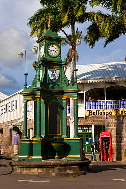Clock Tower in Picadilly Circus, the centre of St Kitts capital, Basseterre, St Kitts, St Kitts and Nevis, Leeward Islands, Lesser Antilles, Caribbean, West Indies 2008  -  Gavin Hellier/ npl