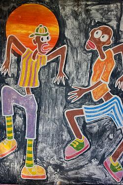 Colourful artwork in Grand-Case on the French side, St Martin, Netherland Antilles, Leeward Islands, Lesser Antilles, Caribbean, West Indies 2008  -  Gavin Hellier/ npl