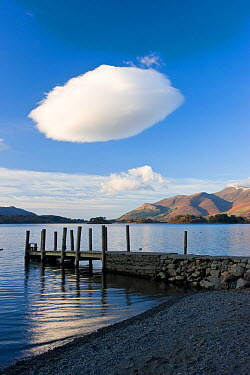 Cloud formation and wooden jetty at Barrow Bay landing, Derwent Water, Lake District National Park, Cumbria, UK November 2008  -  Gavin Hellier/ npl