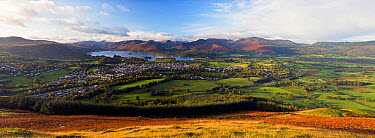 Panoramic view over Keswick and Derwent Water from the Skiddaw Range, Lake District National Park, Cumbria, UK October 2008  -  Gavin Hellier/ npl