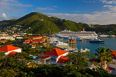 Elevated view over Charlotte Amalie and the Cruise Ship dock of Havensight, St Thomas, US Virgin Islands, Leeward Islands, Lesser Antilles, Caribbean, West Indies 2008  -  Gavin Hellier/ npl