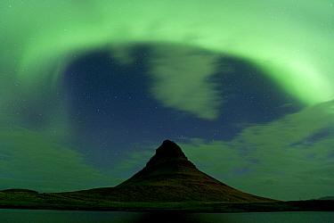 Northern lights over Mount Kirkjufell, Snaefellsnes, Iceland, September 2010