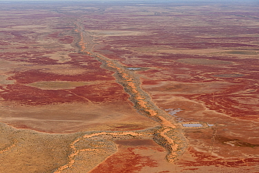 Aerial of Sturt Stoney Desert with gibber rocks. Gibber rocks are millions of years wind and water weathered chalcedonised sandstone with a hardened crust of soil cemented silica, iron and manganese,...