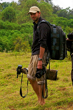 CREDIT REBECCA R JACKREL Photographer Will Burrard-Lucas, with camera equipment to photograph Ethiopian wolves (Canis simensis) Ethiopia, December 2011.