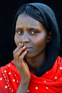 Head portrait of Afar tribe woman with facial tattoo / skin scarifications and wearing a head scarf, Malab-Dei village, Danakil depression, Afar region, Ethiopia, March 2015.