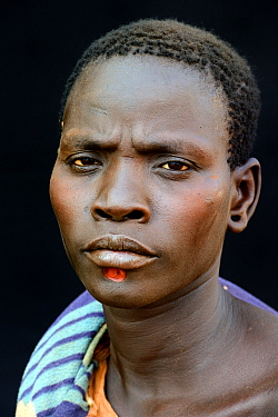 Woman from the Bodi tribe with chin decoration, Omo Valley, Ethiopia, March 2015.