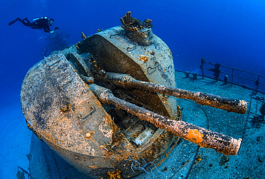"Diver swimming over the stern gun turret of the 330ft long Russian frigate 356, the ""MV Keith Tibbetts"". The ship was built in 1984 and sunk in 1996. Buccaneer Reef, Cayman Brac, Cayman Islands. Carib..."
