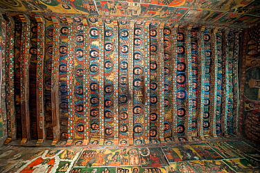 Details of the paintings of angels (cherubs) in the ceiling  of the Debre Birhan Selassie (Trinity and Mountain of Light) Church in the outskirts of Gondar, Amhara Region, Semien Gondar Zone, Ethiopia...
