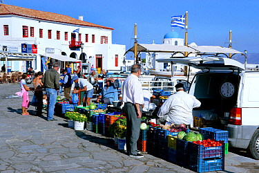 Small fruit and vegetable open air market, Mykonos Island, Cyclades, Aegean Sea, Greece, August 2007