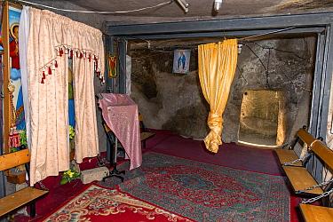 Holy room inside Adadi Maryam / Anfar Debre Maryam, a rock hewn Ethiopian Orthodox Tewahedo Church. Adami, Oromia, Ethiopia, Africa, March 2009.