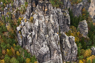 Sandstone formation, Sachsische Schweiz / Saxon Switzerland National Park, Germany, May.