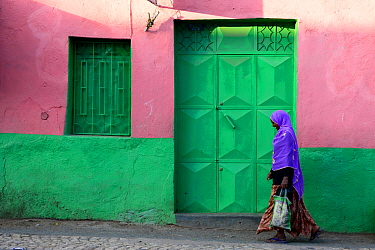 Muslim woman walking down colourful narrow streets, in Harar, an important holy city in the Islamic faith, UNESCO World Heritage Site. Ethiopia, November 2014