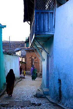 Muslim woman walking down narrow streets, in Harar, an important holy city in the Islamic faith, UNESCO World Heritage Site. Ethiopia, November 2014
