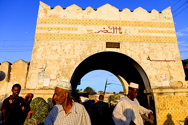 Busy street scene with archway in Harar, an important holy city in the Islamic faith, UNESCO World Heritage Site. Ethiopia, November 2014