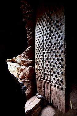 Centuries-old wooden door, Lalibela Churches Complex. UNESCO World Heritage Site. Ethiopia, December 2014.