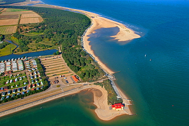 Aerial view of Holkham caravan park, Pinewoods and Wells Beach and lifeboat station, Norfolk, England, UK, February 2009.