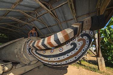 Aliba Village log-drum, Ao Naga Headhunting Tribe. Mokokchung district, Nagaland, North East India, October 2014.