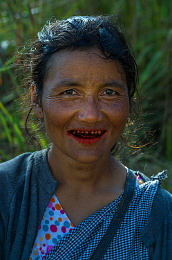 Khasi woman chewing Betel nut, a mild stimulant which leaves red staining on the teeth, Barabazar market, Shillong, Meghalaya, North East India.