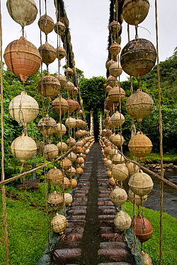 Genius River Bridge, made with marine debris by artist Tico 'Pancho',  Chatham Bay, Cocos Island National Park, Costa Rica. September 2012.
