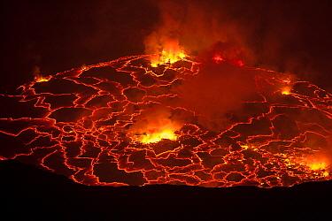 Nyiragongo volcano lava lake, Virungas National Park, Democratic Republic of Congo February 2015.