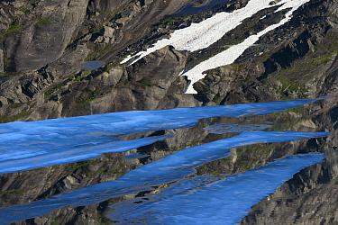 Ice sheets floating on the surface of Ovre Pikhaugvatnet Lake, Saltfjellet-Svartisen National Park, Norway, August 2015.