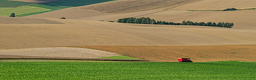 Panoramic view of fields with combine harvester in the distance in Etaples, Pas De Calais, France, July 2015.