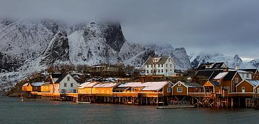 Fishing village of Sakrisoy, Moskenes, Lofoten, Nordland, Norway.