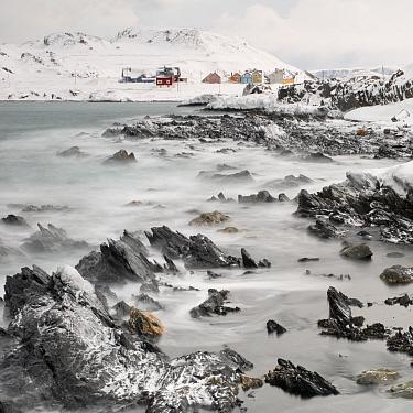 The fishing village of Veines, winter, Berlevag, Finnmark, Norway.