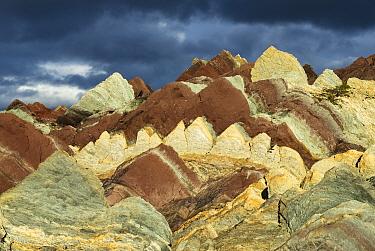 Layers of different coloured sedimentary rocks (sandstone, mudstone, dolomite, limestone) Vardo, Finnmark, Norway, July 2006.